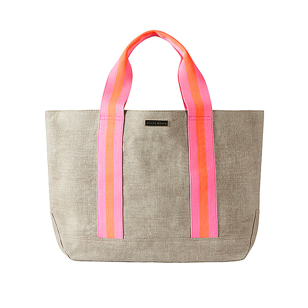 Bimini Stripe Canvas Beach Tote - Pink