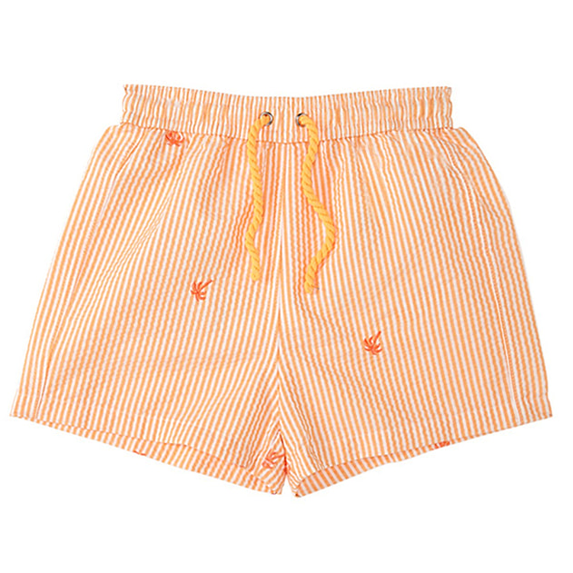Long Island Boys Short Trunks in Orange Stripe