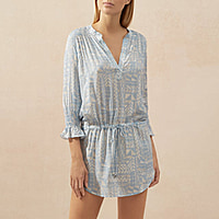 HALF MOON MONTEGO BAY SMOCKED TUNIC - BABY BLUE