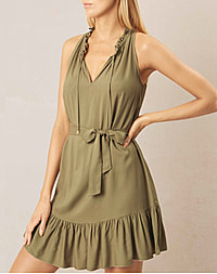 VENICE RUFFLE NECK DRESS - KHAKI