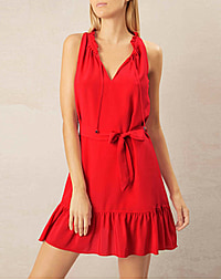 PAMPELONNE RUFFLE NECK MINI DRESS RED