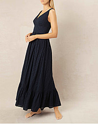 NEW HAVEN V - NECK RUFFLE MAXI DRESS - NAVY