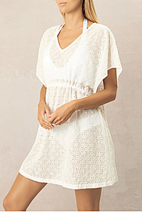 CAIRNS TIE TUNIC DRESS - WHITE