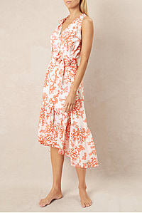 BELIZE FRILL MIDI DRESS - PRINT