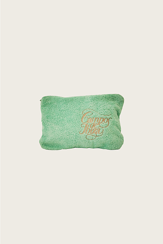 Embroidered Terry Pouch Green