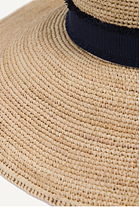 Cape Elizabeth Raffia Wide Brim Frayed Hat Navy