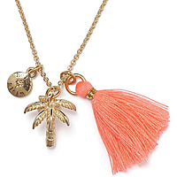 Gold/Coral Short Palm Necklace