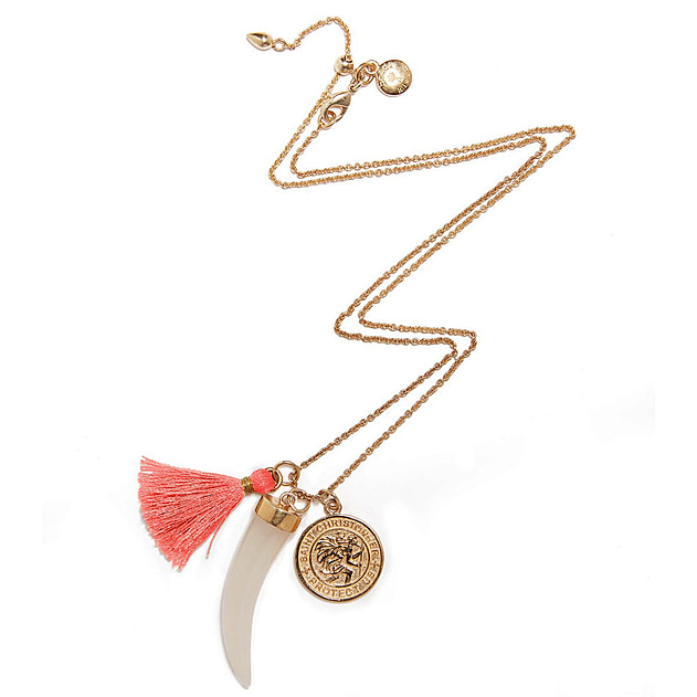Gold/Coral Short Horn Necklace
