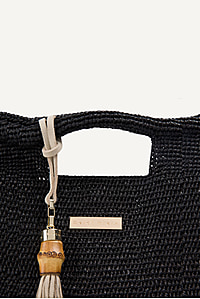Grace Bay Large Raffia Bucket Bag in Black