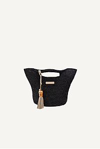 Grace Bay Super Mini Raffia Bucket Bag in Black