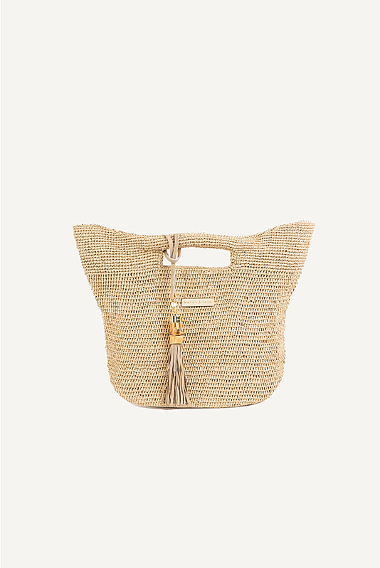 Grace Bay Mini Raffia Bucket Bag in Natural