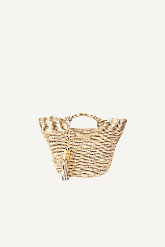 Grace Bay Super Mini Raffia Bucket Bag in Natural
