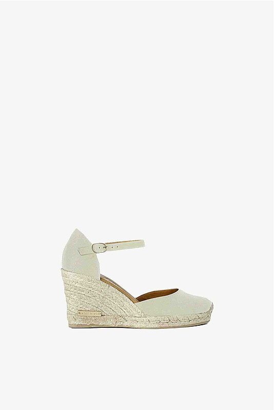 Montego Bay Canvas Wedge Shoe in Mushroom