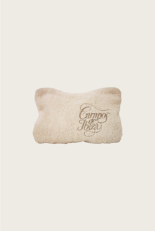 Embroidered Terry Pouch White