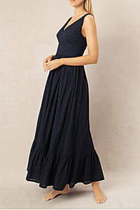 New Haven V-Neck Ruffle Maxi Dress