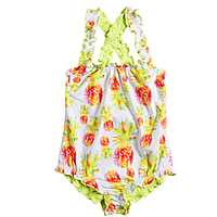 Tiki Ruffle Crossed Back One Piece